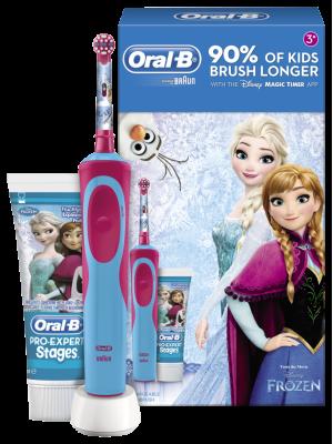 Braun Oral-B Stages Power электрическая зубная щетка D12.513.1 Frozen Холодное сердце (На аккумуляторе) + зубная паста