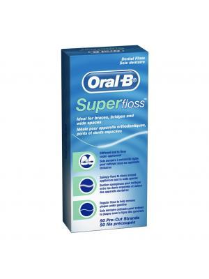 Oral-B Super floss нить мятная межзубная, для брекетов и мостовых коронок 50 шт.