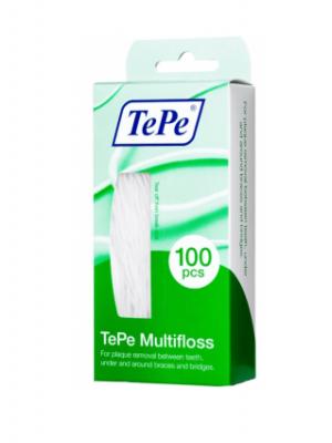 TePe Multifloss зубная нить для очищения межзубных промежутков и орто-конструкций (100 шт)