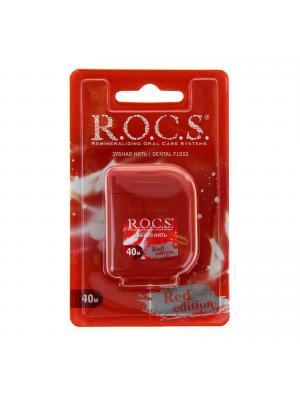 Рокс Red Edition зубная нить кручёная расширяющая 40м
