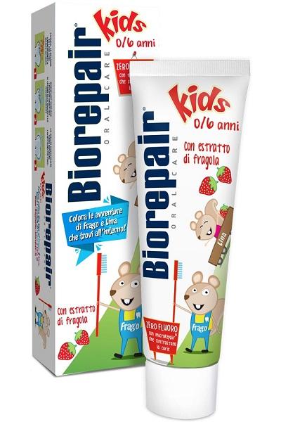 детская зубная паста безопасная без фтора и красителей Biorepair Junior